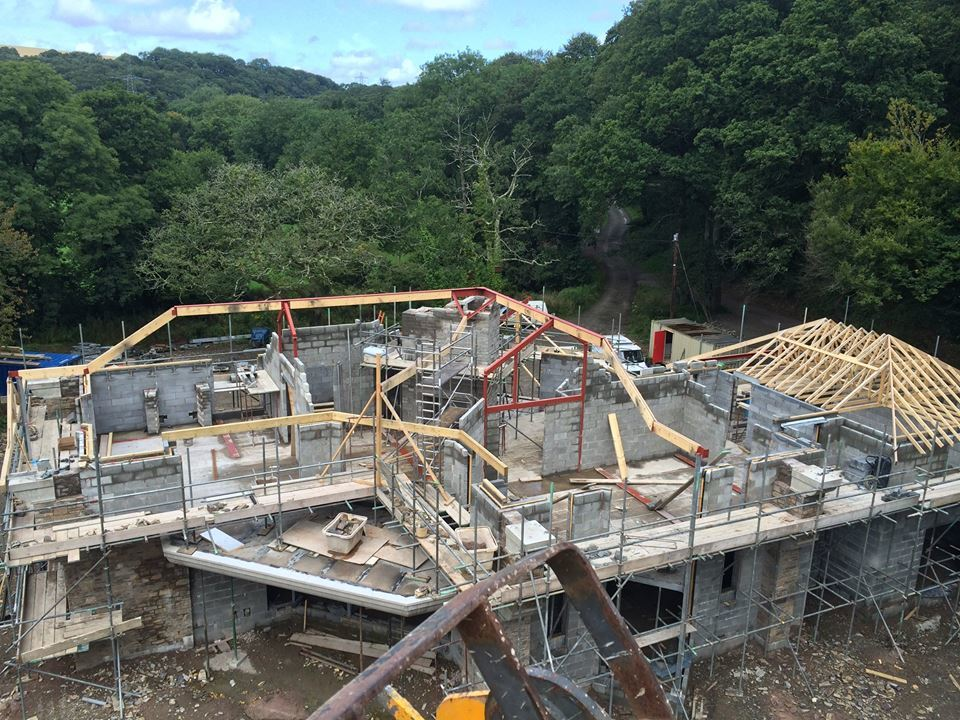 Construction of a house by Jenkinson Potts builders Barnstaple North Devon.